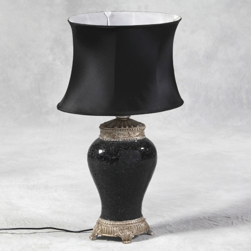 Black Mosaic Lamp with Black Oval Shade