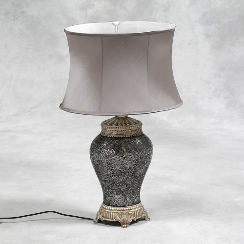 Silver Mosaic Lamp with Silver Oval Shade