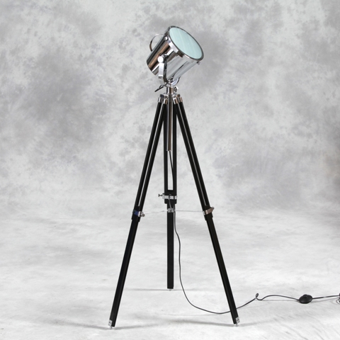 Black wooden tripod chrome spotlight floor lamp the house in town tripod floor lamp aloadofball Choice Image