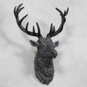 Large Antique Bronze Effect Stag Wall Head – due mid December