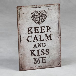 "Antiqued Metal ""Kiss Me"" Sign"