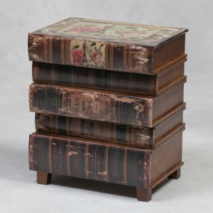 Antiqued Stacked Books Side Cabinet