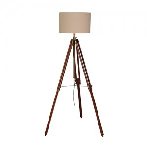 Dark Wood/Brass Tripod Lamp IN STOCK