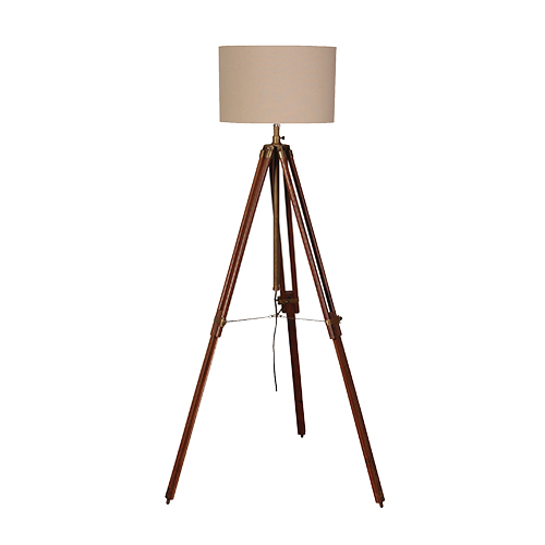 Dark Wood/Brass Tripod Lamp IN STOCK