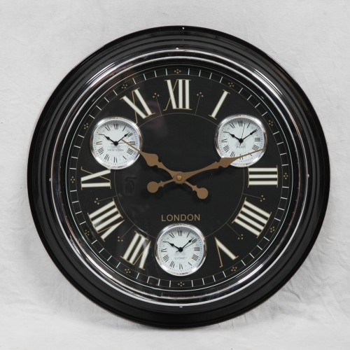 "A Black with Black & Gold Face ""London"" Multi Dial Wall Clock"