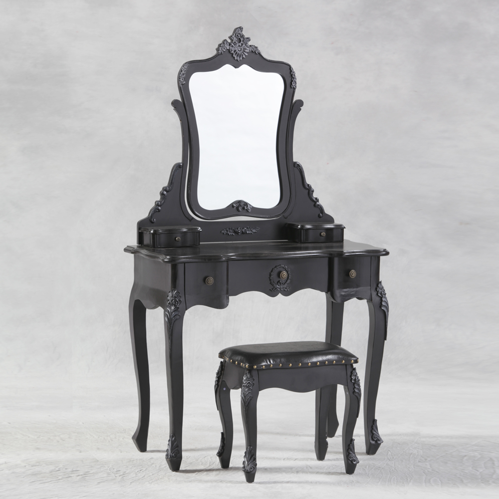 Antique Black French Style Dressing Table, Mirror and Stool Set ...