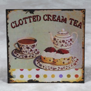"Antiqued Metal ""Clotted Cream Tea"" Sign"