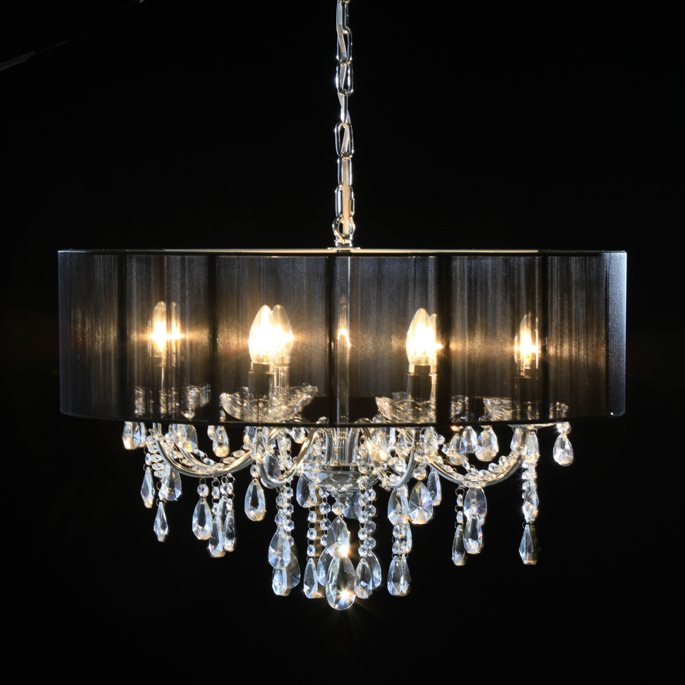 Chrome 8 Branch Chandelier With Black Shade