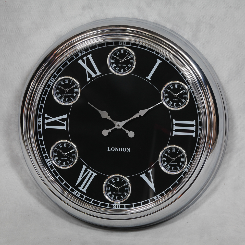 Large Chrome With Black Face Multi 6 Dial Wall Clock The