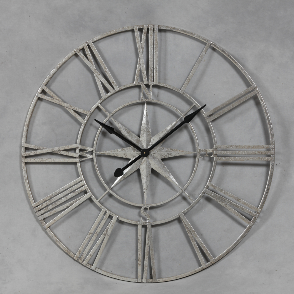 large silver nautical compass skeleton wall clock the