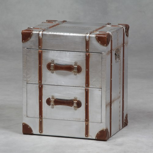 Industrial Travel Trunk Silver 2 Drawer Cabinet IN STOCK