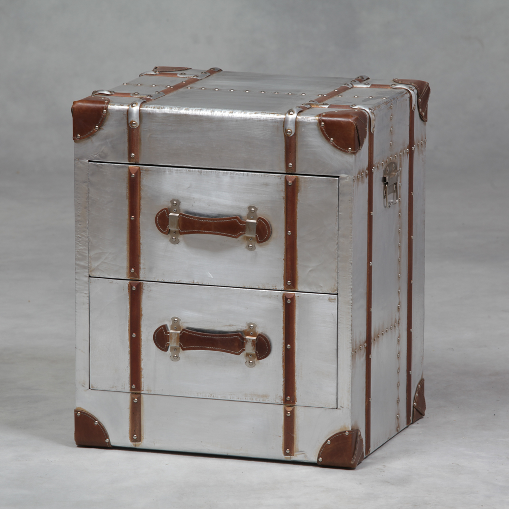 Industrial Travel Trunk Silver 2 Drawer Cabinet