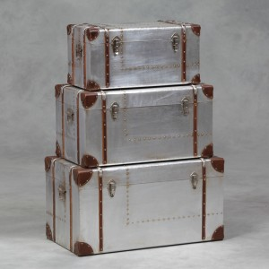 Industrial Travel Trunk Silver Set of 3 Trunks IN STOCK