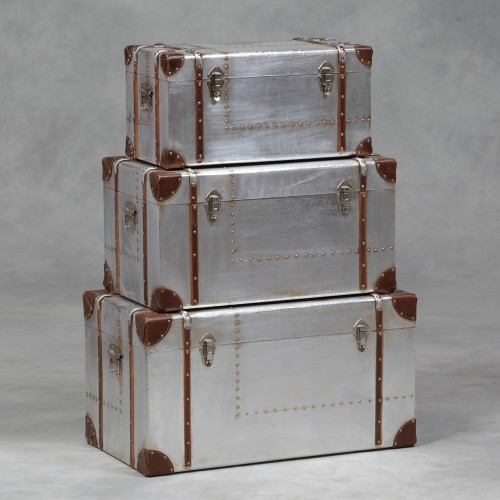 Industrial Travel Trunk Silver Set of 3 Trunks