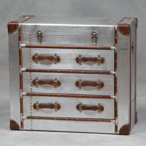 Industrial Travel Trunk Silver Chest of Drawers IN STOCK