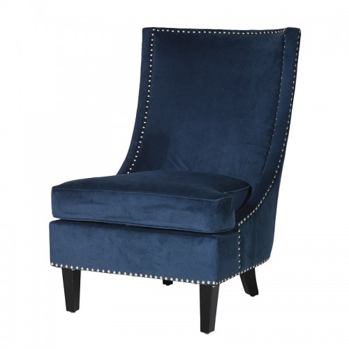 Blue Sofa Chair With Chrome Studs