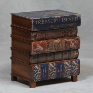 Antiqued Stacked Children's Books Side Cabinet