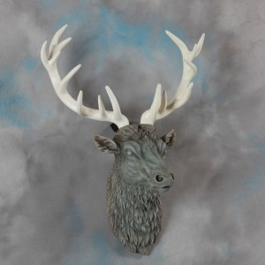 Large Stone Effect Stag Head with Antiqued Antlers
