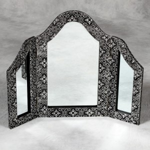 Blackened Silver Embossed 3 Fold Dressing Table Mirror