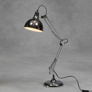 Chrome Traditional Desk Lamp (Black Flex)