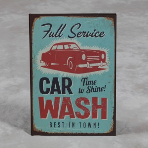 "Antiqued Metal ""Car Wash"" Wall Sign"