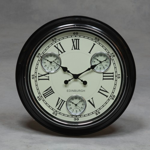 "A Black with White Face ""Edinburgh"" Multi Dial Wall Clock"