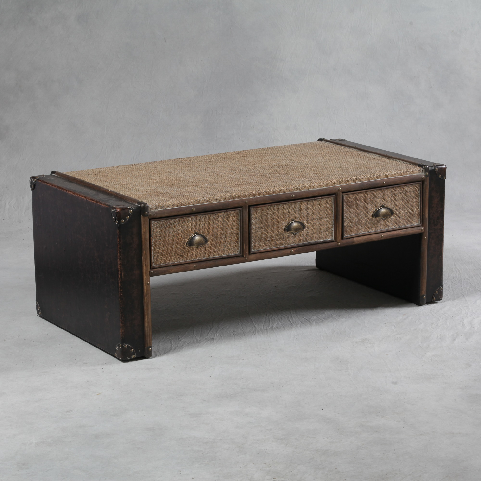Antique Black And Rattan Brooklyn 6 Drawer Coffee Table The House In Town