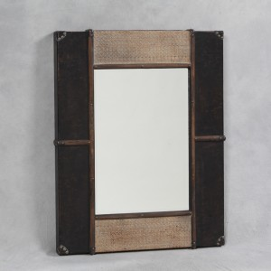 Antique Black and Rattan Brooklyn Wall Mirror