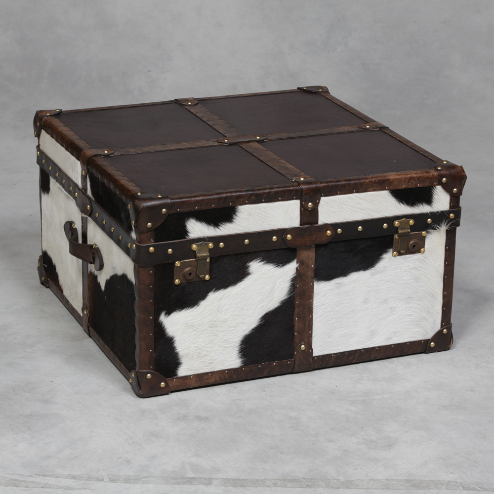 Square antique leather and cow hide coffee table trunk the house in town Square leather coffee table