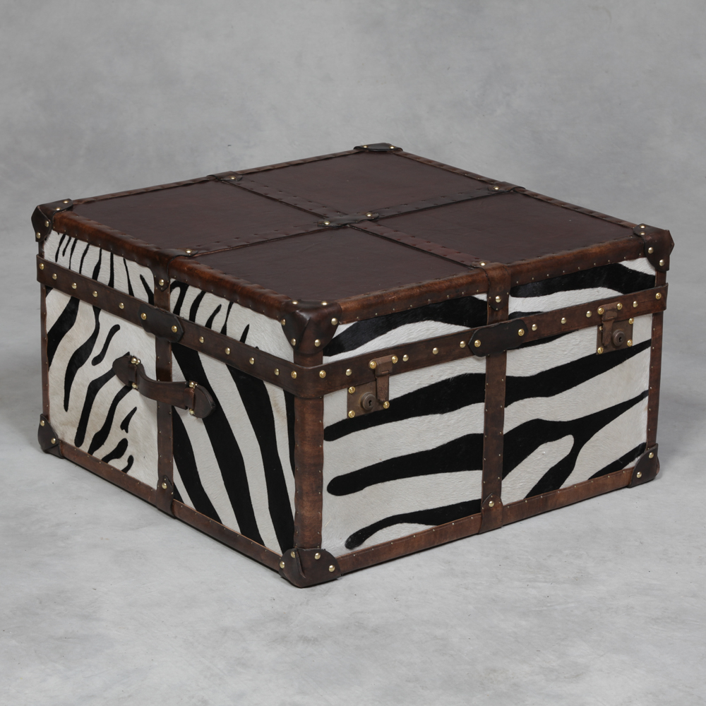 Square antique leather and zebra hide coffee table trunk the house in town Square leather coffee table