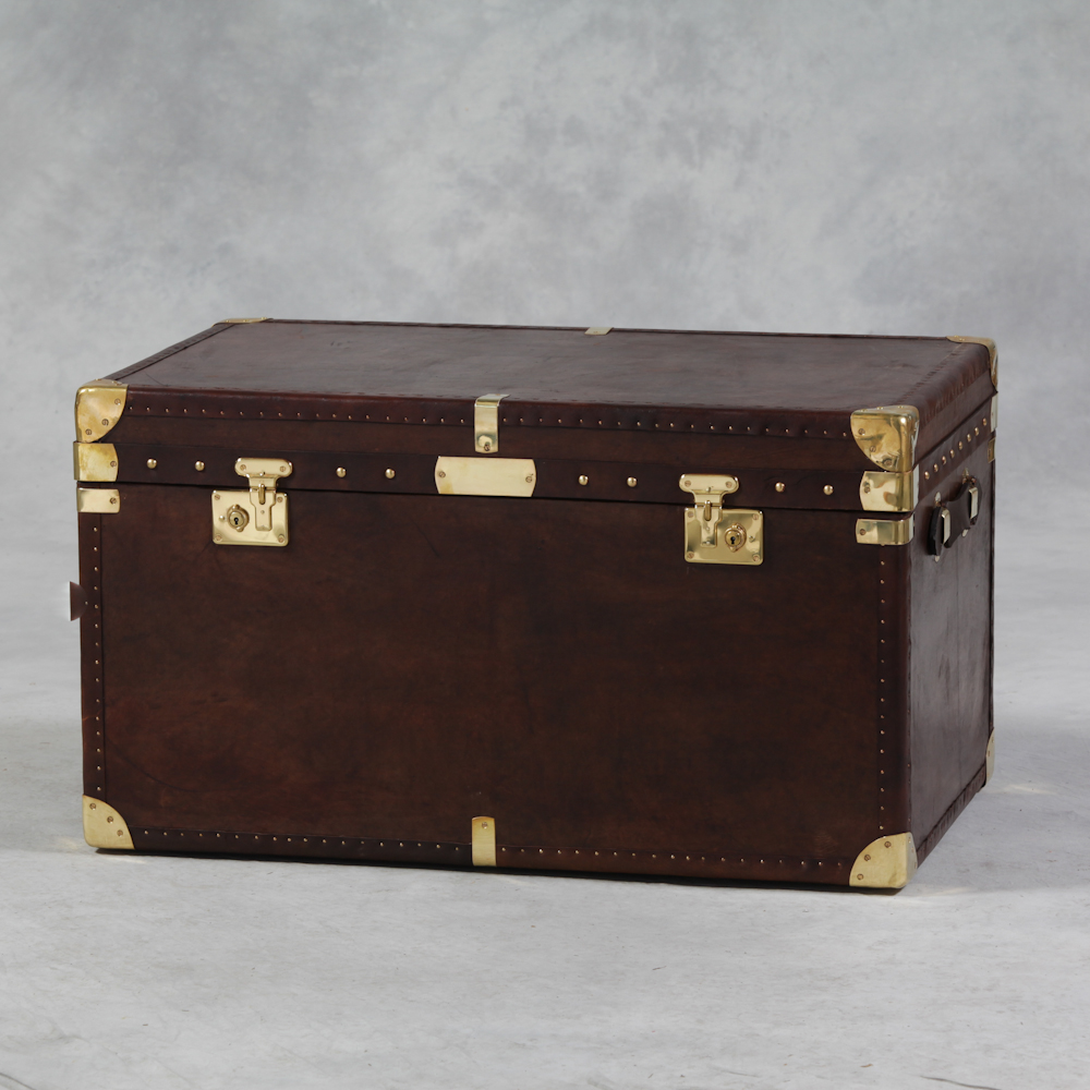 Large Coffee Table Brown Leather Brass Travel Trunk The House In Town