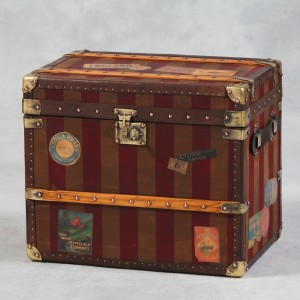 Antiqued Striped Travel Trunk with Labels