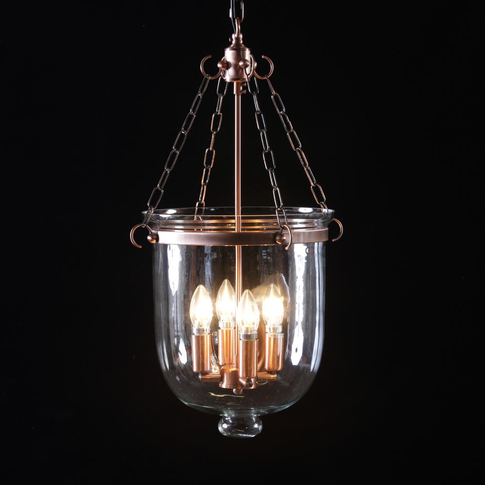 Large Antique Copper And Glass Hundi Bell Jar Chandelier