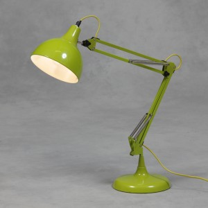 Lime Green Traditional Large Desk Lamp (Yellow Fabric Flex)