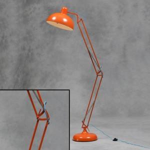 Orange Extra Large Classic Desk Style Floor Lamp (Blue Fabric Flex)