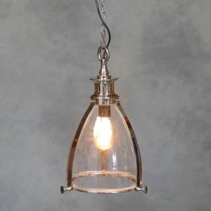 Chrome and Glass Lantern Ceiling Light