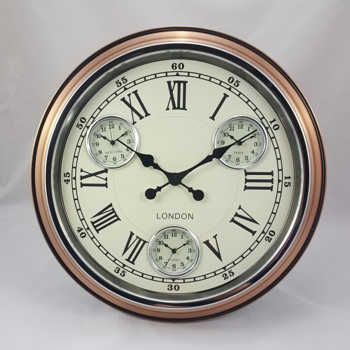 "A Vintage Copper with White Face ""London"" Multi Dial Wall Clock"