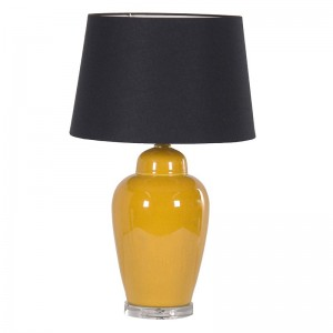 Yellow Ceramic Lamp Black Shade