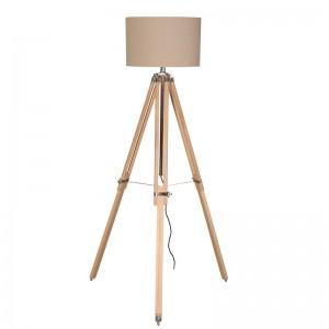 Beech/Brass Tripod Lamp