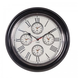 Black/Nickel World Time Clock