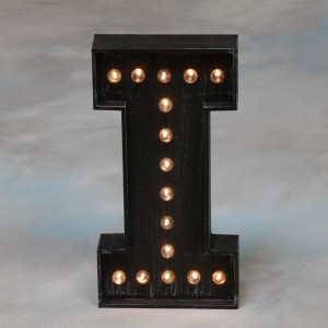 "Vegas Antiqued Black Wooden ""I"" Light Letter"