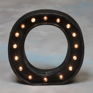 "Vegas Antiqued Black Wooden ""O"" Light Letter"