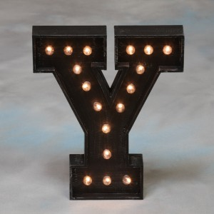 "Vegas Antiqued Black Wooden ""Y"" Light Letter"
