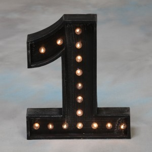 "Vegas Antiqued Black Wooden ""1"" Light Number"