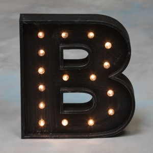 "Vegas Antiqued Black Wooden ""B"" Light Letter"