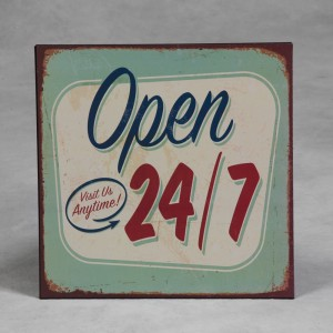 "Antiqued Metal ""Open 24/7"" Sign"