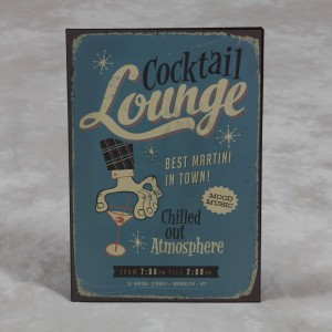 "Antiqued Metal ""Cocktail Lounge"" Wall Sign"