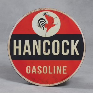 "Antiqued Metal Large ""Hancock"" Round Wall Sign"