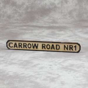 "Antiqued Wooden ""Carrow Road NR1""  Road Sign"