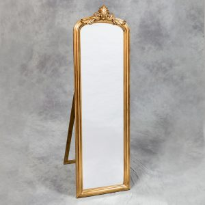 Tall Gold Slim Crested Dressing Mirror